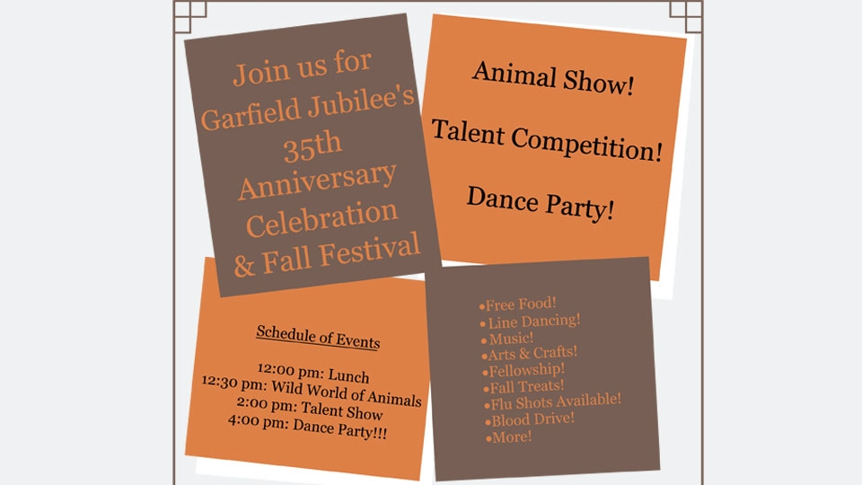 Garfield Jubilee's 35th Anniversary and Fall Festival – Sat. Sept. 22nd